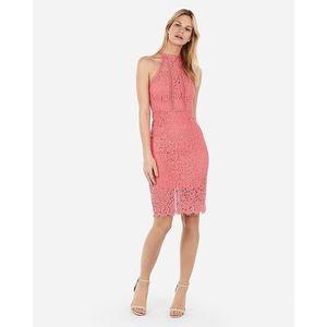 Express High Neck Lace Sheath Dress